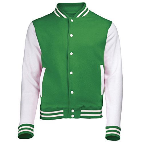 Varsity College Jacket (Small - Kelly Green/White) New Premium Unisex American Style Letterman Blank Baseball Custom Top Mens Womens Ladies Gift Present Quality AWD Soulstar Omega Bomber by Fashio from 123t