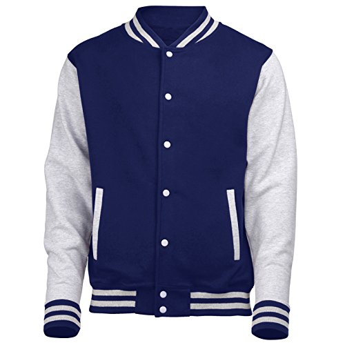 VARSITY COLLEGE JACKET (Oxford Navy / Heather Grey) NEW PREMIUM Unisex American Style Letterman Blank Baseball Custom Top Mens Womens Ladies Gift Present Quality AWD - By 123t, Oxford Navy / Heather Grey, Medium from 123t