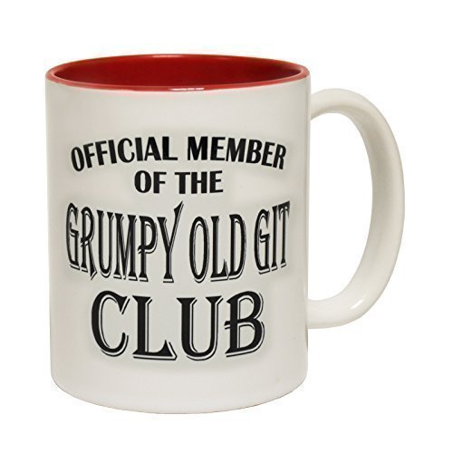 123t Mugs GRUMPY OLD GIT Ceramic Slogan Cup With Red Interior birthday funny gift for him for her from 123t