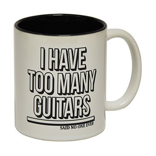 123t Mugs I HAVE TOO MANY GUITARS SNOE funny novelty gift present birthday ! Ceramic Slogan Cup With Black Interior for him her - BOXED from 123t