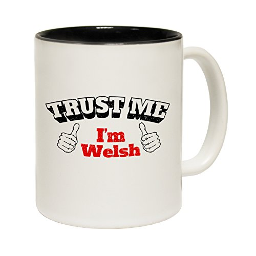 123t Mugs Trust Me I'm Welsh Ceramic Slogan Cup With Black Interior birthday funny gift for him her - BOXED novelty from 123t