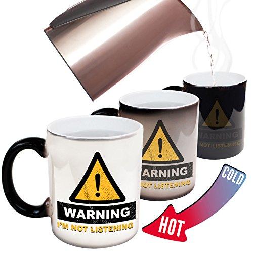 123t Funny Mugs - Warning Im Not Listening Offensive Adult Humour Rude Cheeky Joke COLOUR CHANGING NOVELTY MUG GIFT BOXED from 123t