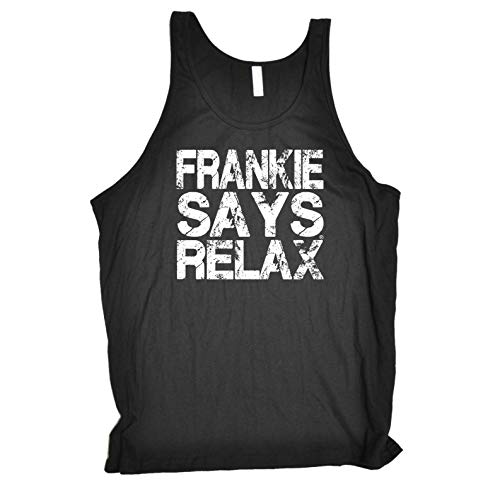 Funny Novelty Vest - Distress White Frankie 80's Retro Bella Singlet Top Vests Singlets 8 8S 198 9 9S Old Skool Slogan Presents Gifts Gym from 123t