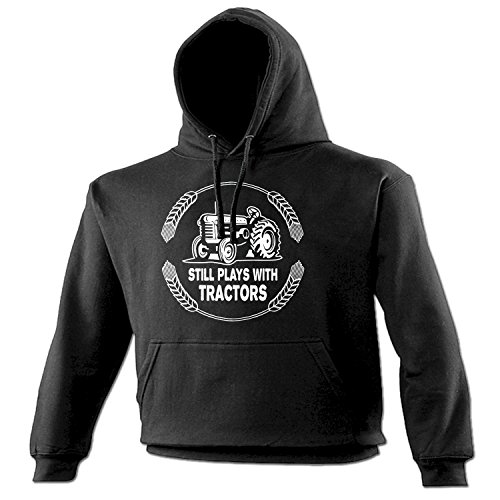 Funny Novelty Men's Women's Still Plays with Tractors (4XL - Black) Hoodie Fathers Day Clothing funnyhoodies Cool Hoody Designs Hoodies for Boys Mens Party Jumper from 123t