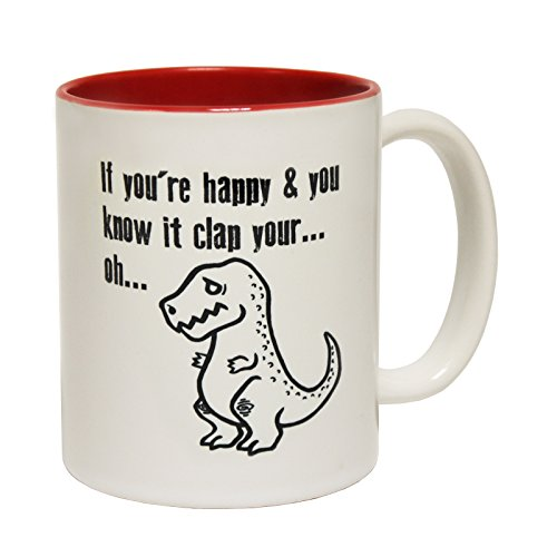 123t Funny Mugs If Your Happy And You Know It Clap Oh - Joke Coffee Tea Dinosaur RED INNER TWO TONE NOVELTY MUG secret santa present BOXED from 123t