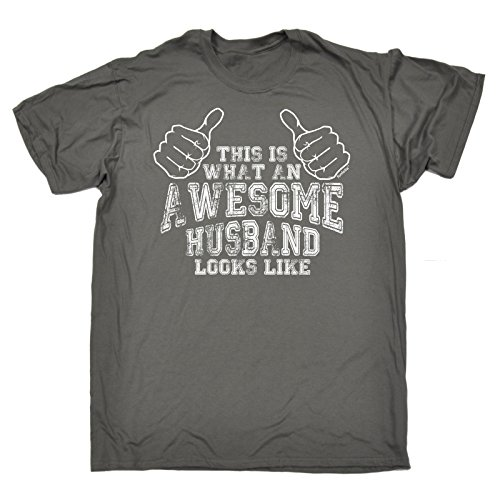 Funny Novelty - This is What an Awesome Husband Looks Like (L - Charcoal) New Premium Loose FIT Baggy T-Shirt - Slogan Funny Clothing Joke Novelty Vintage Retro t shi from 123t
