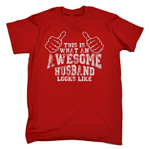Funny Novelty - This is What an Awesome Husband Looks Like (XXL - RED) New Premium Loose FIT Baggy T-Shirt - Slogan Funny Clothing Joke Novelty Vintage Retro t Shirt from 123t