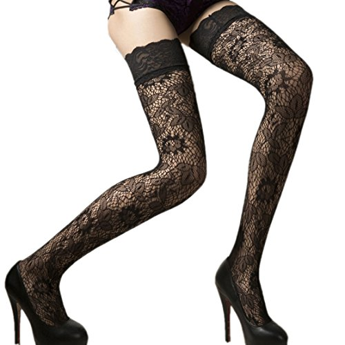 18MM Sexy Womens ladies Black Sheer Floral Lace Top Thigh High Stockings Hosiery from 18MM