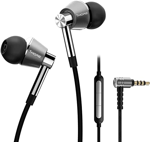 1MORE Triple Driver In-Ear Earphones Hi-Res Headphones with High Resolution, Bass Driven Sound, MEMS Mic, In-Line Remote, High Fidelity for Smartphones/PC/Tablet - E1001 Silver from 1MORE