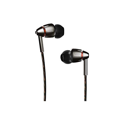 1MORE Quad Driver In-Ear Earphones Hi-Res High Fidelity Headphones with Warm Bass, Spacious Reproduction, High Resolution, Mic and In-Line Remote for Smartphones/PC/Tablet - E1010 Space Gray from 1MORE