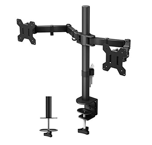 "1home Double Twin Arm Desk Mount Ergonomic TV LCD Monitor Computer Screen Bracket Dual Tilt Swivel Rotation 13""-27"" 