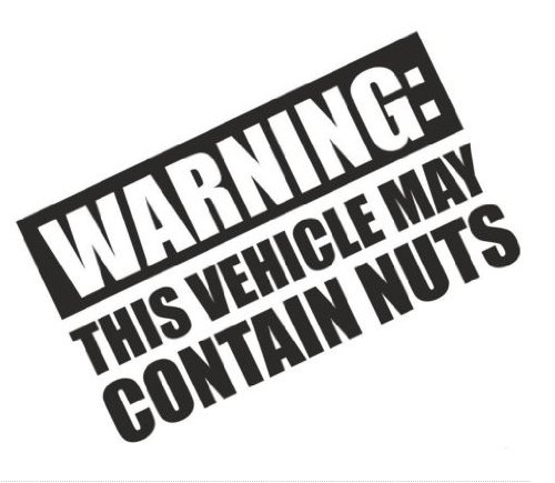Warning This Vehicle May Contain Nuts Funny Bumper Sticker Car Van Bike Sticker Decal Free P&P from 1st-Class-Designs