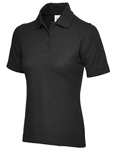 Ladies Pique Polo Shirt Size UK 8 to 26 Plus NEW Casual Sports Gym Work (UK 22-24 (3XL), Black) from 247-Clothing