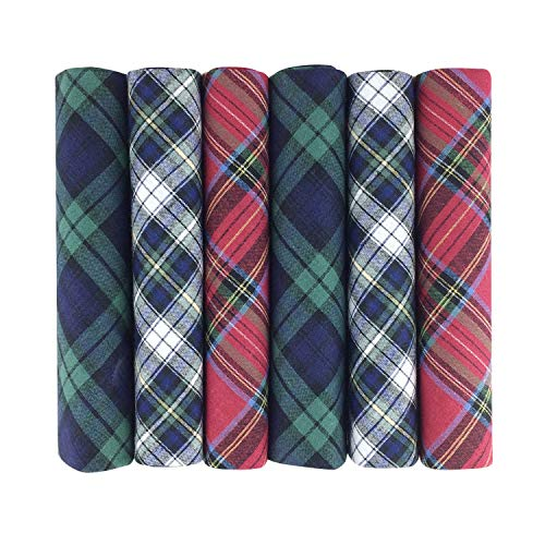 6 Pack Mens Boxed 100% Cotton Tartan Handkerchiefs, 40 x 40cm approx, Blue Green Red White from 2COZEE