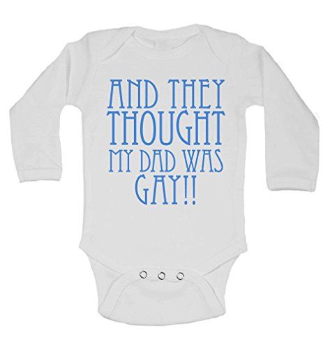 and They Thought My Dad was Gay - Personalised Long Sleeve Baby Vests Bodysuits Baby Grows - Unisex (Boys, Girls) - White - 0-3 Months from 2Personal