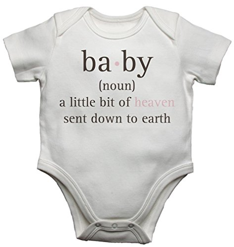 Baby (Noun) – a Little Bit of Heaven Sent Down to Earth - Baby Vests Bodysuits Baby Grows Personalised Graphic Print Design - Unisex (Boys, Girls) - White - 3-6 Months from 2Personal