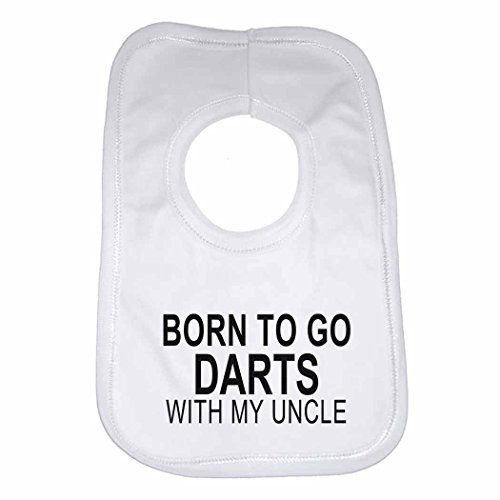 Born to Go Darts with My Uncle - Personalised Baby, Toddler Bib for Boys, Girls, Newborn Gifts - White from 2Personal