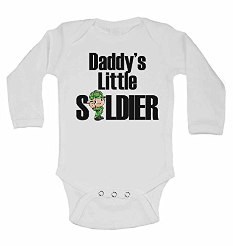 Daddy's Little Soldier - New Personalised Long Sleeve Baby Vests Bodysuits Baby Grows for - Boys, Girls - White - 12-18 Months from 2Personal