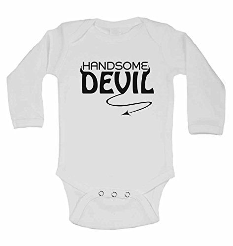 Handsome Devil - New Personalised Long Sleeve Baby Vests Bodysuits Baby Grows for - Boys, Girls - White - 9-12 Months from 2Personal