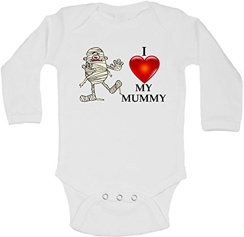 I Love My Mummy Halloween - Personalized Long Sleeve Baby Vests Bodysuits Baby Grows - Unisex (Boys, Girls) - White - Newborn from 2Personal
