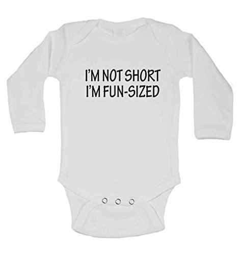 I'm Not Short I'm Fun-Sized - New Personalised Long Sleeve Baby Vests Bodysuits Baby Grows for - Boys, Girls - White - Newborn from 2Personal