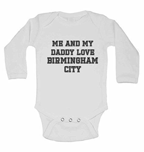 Me and My Daddy Love Birmingham City, for Football, Soccer Fans - Personalised Long Sleeve Baby Vests Bodysuits Baby Grows for Boys, Girls (Unisex) - White - 2-3 Years from 2Personal
