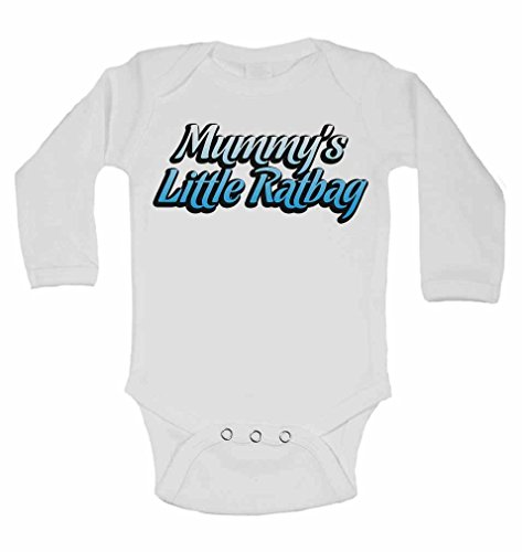 Mummy's Little Ratbag - New Personalised Long Sleeve Baby Vests Bodysuits Baby Grows for - Boys, Girls - White - 9-12 Months from 2Personal