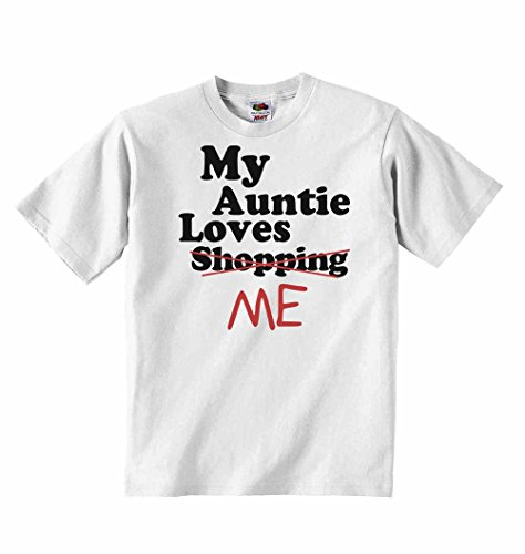 My Auntie Loves Me not Shopping - Boys Girls T-Shirt Personalised Tees Unisex Tshirt Clothing - White - 3-4 Years from 2Personal