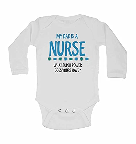 My Dad is A Nurse, What Super Power Does Yours Have? - New Personalised Long Sleeve Baby Vests Bodysuits Baby Grows for - Boys, Girls - White - Newborn from 2Personal