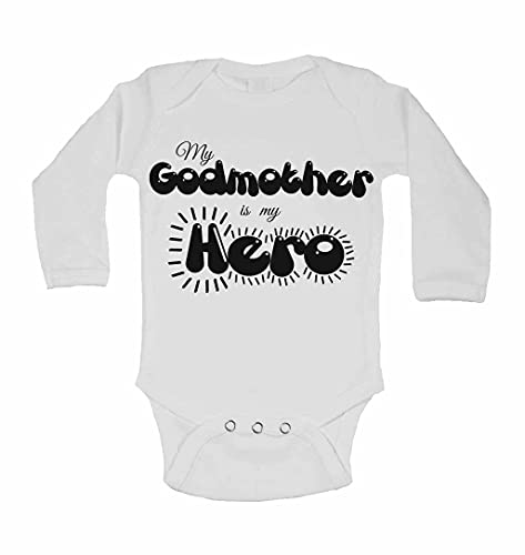 My Godmother is My Hero - Personalised Long Sleeve Baby Vests Bodysuits Baby Grows for Boys, Girls - White - 2-3 Years from 2Personal
