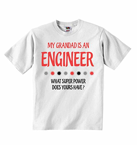 My Grandad is an Engineer What Super Power Does Yours Have? - Boys Girls T-Shirt Personalised Tees Unisex Tshirt Clothing - White - 5-6 Years from 2Personal