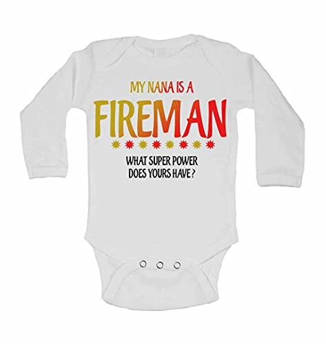 My Nana is A Fireman What Super Power Does Yours Have? - New Personalised Long Sleeve Baby Vests Bodysuits Baby Grows for - Boys, Girls - White - 12-18 Months from 2Personal