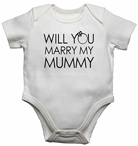 Will You Marry My Mummy - New Personalised Baby Vests Bodysuits Baby Grows for Boys, Girls - White - 9-12 Months from 2Personal