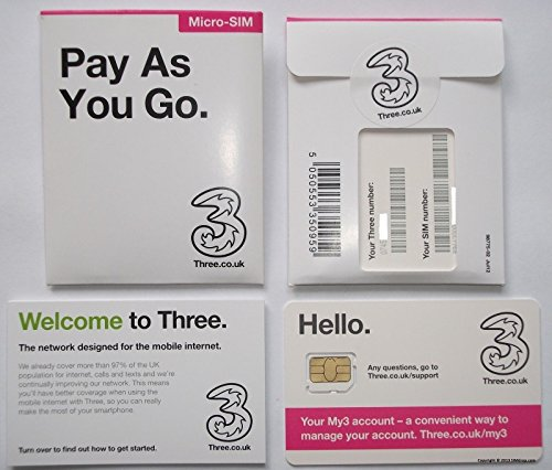 Three Mobile 4G Multi Sim PAYG Big Value Sim Includes Nano/Micro/Standard SIM - Unlimited Calls, Texts & Data for all Your Mobile Device, iPhones, iPads, Tablets, Androids, Dongles & all Wifi Device - AVAILABLE ONLY FROM > MOBILES DIRECTS COMMUNICATIONS LTD from 3