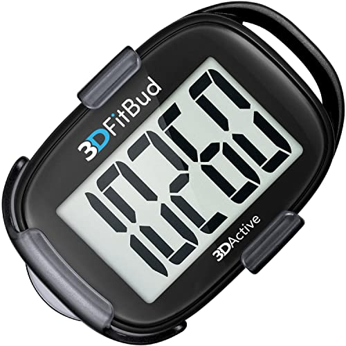 3DFitBud Simple Step Counter Walking 3D Pedometer with Lanyard, A420S (Black with Clip) from 3DActive