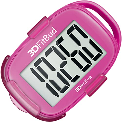 3DFitBud Simple Step Counter Walking 3D Pedometer with Lanyard, A420S (Pink with Clip) from 3DActive