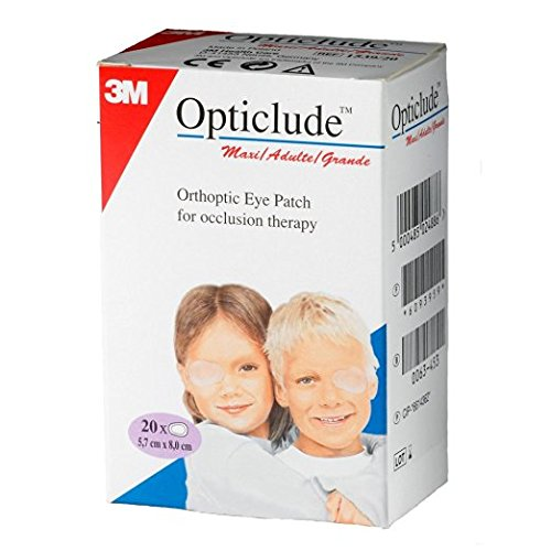 Opticlude 1539 Orthoptic Boy's and Girl's Junior Eye Patches Coloured - Maxi Size, Pack of 20 from 3M Opticlude