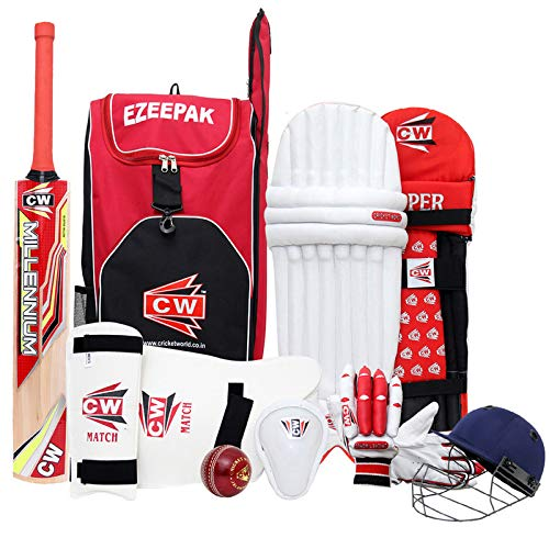 CW STORM Red Cricket Set With Kashmir Willow Bat Sports Full Kit (Duffel Bag & Helmet) Youth Size 6 For 11-12 Yrs Boys from CW