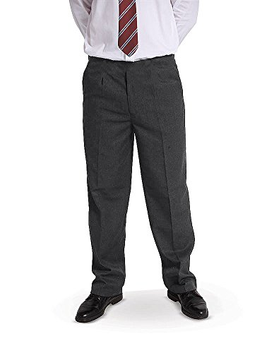 "BOYS School/Formal CLASSIC Quality STURDY FIT PLUS SIZE ""Palvini"" Trousers-6-13Yrs (10-11YRS, Grey) from 4D-Uniforms-PALVINI"