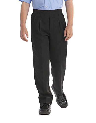 "BOYS School/Formal CLASSIC Quality STURDY FIT PLUS SIZE ""Palvini"" Trousers-6-13Yrs (11-12YRS, Black) from 4D-Uniforms-PALVINI"