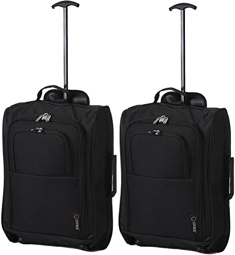 5 Cities The Valencia Collection Hand Luggage, 42 Liters, Plain Black Set of 2 from 5 Cities