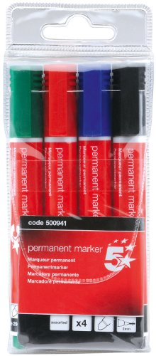 5 Star Assorted Permanent Markers (Pack of 4) from 5 Star