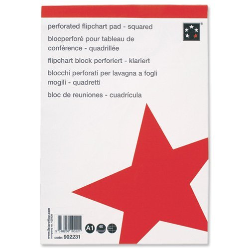 5 Star Office (A1) Flipchart Pad Perforated 40 Sheets Feint 20mm Squared (Pack of 5) from 5 Star