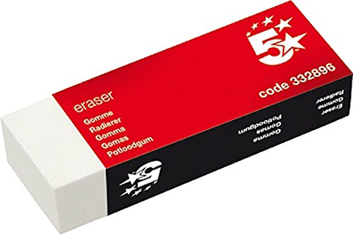 5 Star Plastic Eraser Paper-Sleeved 60x21x21mm [Pack 10] from 5 Star