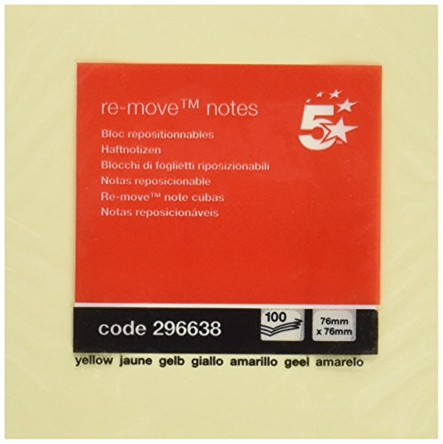 5 Star ft510284225 - Notepad 100 Sheets 76 x 76 mm Yellow from 5 Star