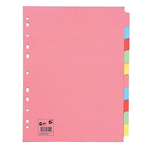 Brand New. 5 Star Subject Dividers Multipunched Manilla Board 10-Part Extra Wide A4 Assorted [Pack 10] from 5 Star
