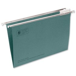 Brand New. 5 Star Suspension File Manilla Heavyweight with Tabs and Inserts Foolscap Green [Pack 50] from 5 Star