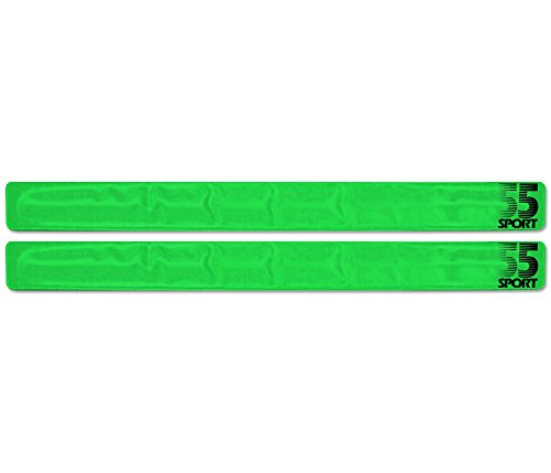 55 Sport Highly Reflective Hi-Vis Slap On Wrist/Ankle Bands - Green - 2 Pack from 55 Sport