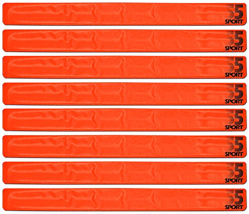 55 Sport Highly Reflective Hi-Vis Slap On Wrist/Ankle Bands - Orange - 8 Pack from 55 Sport