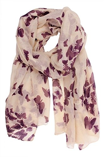 Butterfly Lady Women Fashion Stylish Soft Scarf Shawl Neck Wrap Headscarf Stole (Butterfly Purple) from IIOOII